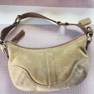 coach small suede trimmed cowhide hobo shoulder ba